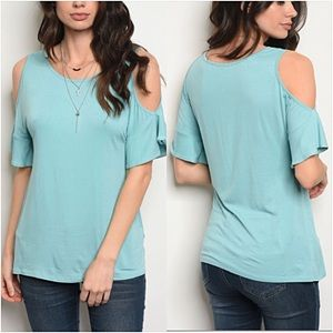 Tops - Chic Turquoise Cold Shoulder Ruffle Tee Small